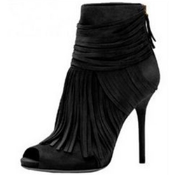 Shoespie Multi Color Fringe Peep Toe Fashion Booties