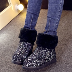 Shoespie Street Sequine Black Round Toe Snow Boots