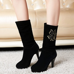 Shoespie Chic Black Maple Leaf Appliqued Low Heel Mid Calf Boots