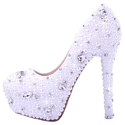 Shoespie White Bead & Rhinestone Platform Bridal Shoes