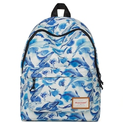 Shoespie Blue Feather Print Backpack