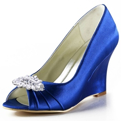 Shoespie Blue Satin Rhinestone Peep Toe Wedge Bridal Shoes
