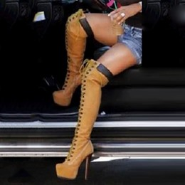 Shoespie Brown Knee High Cowgirl Boots