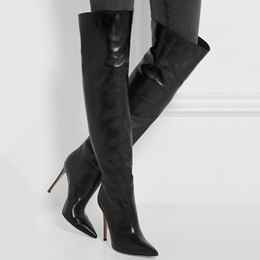 Shoespie Plain Black Knee High Stiletto Boots