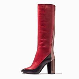 Shoespie Fashionable Contrast Color Chunky Heel Knee High Boots