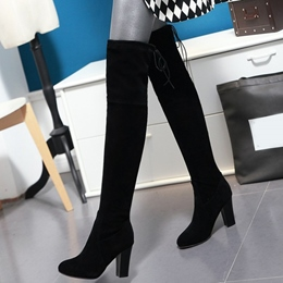 Shoespie Soft Leather Chunky Heel Thigh High Boots