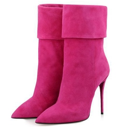 Shoespie Decent Pink Pointed Toe Stiletto Booties