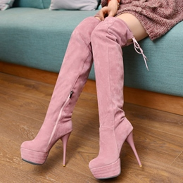 Shoespie Solid Color Back Toe High Heel Thigh High Boots