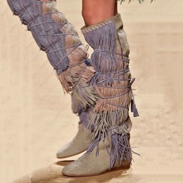 Shoespie Suede Fringe Knee High Cowgirl Boots