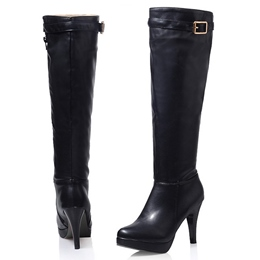 Shoespie Chic Buckle Knee High Stiletto Riding Boots