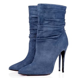 Shoespie Denim Blue Stiletto Heel Ankle Boots
