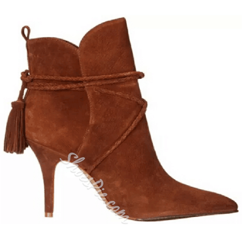 Shoespie Chic Brown Ankle String Lace Up Stiletto Booties
