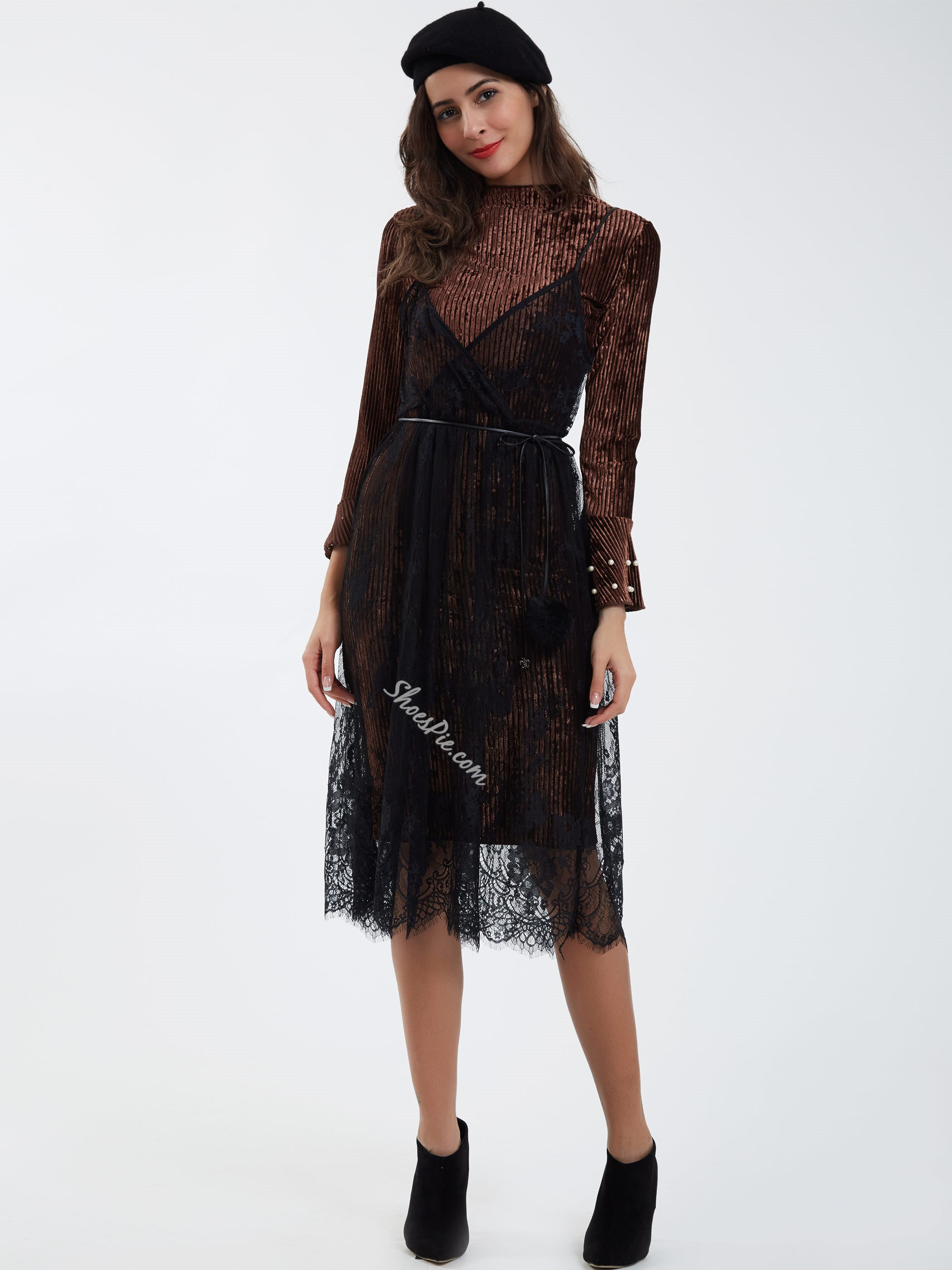 Double-Layer Lace Patchwork Beading Decorative Day Dress