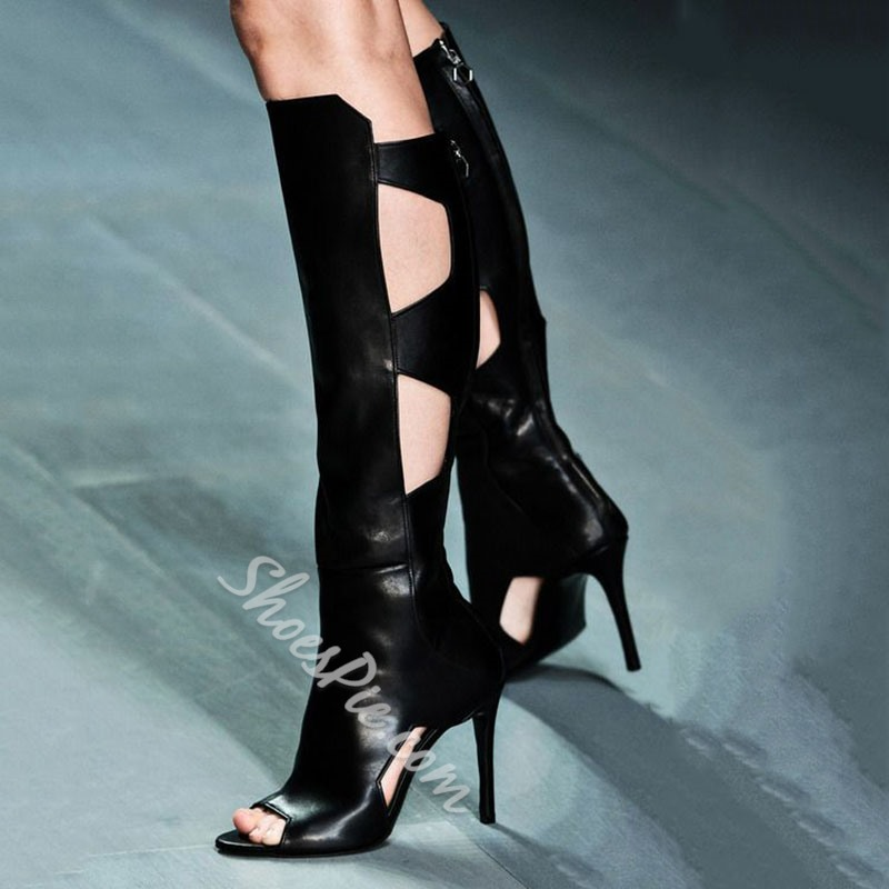 Shoespie Black Gothic Knee High Boots