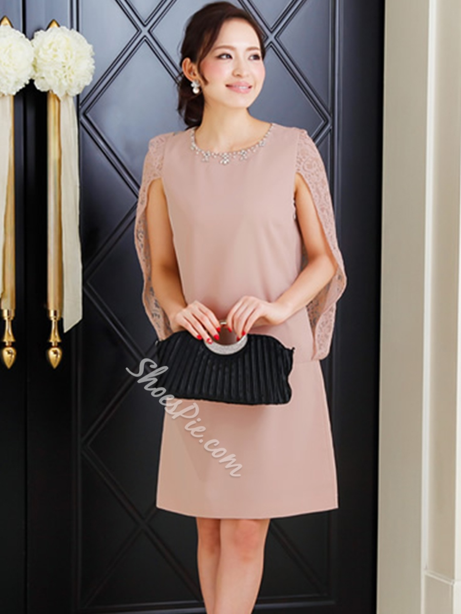 Shoespie Round Neck With Diamonds Decorated Day Dress
