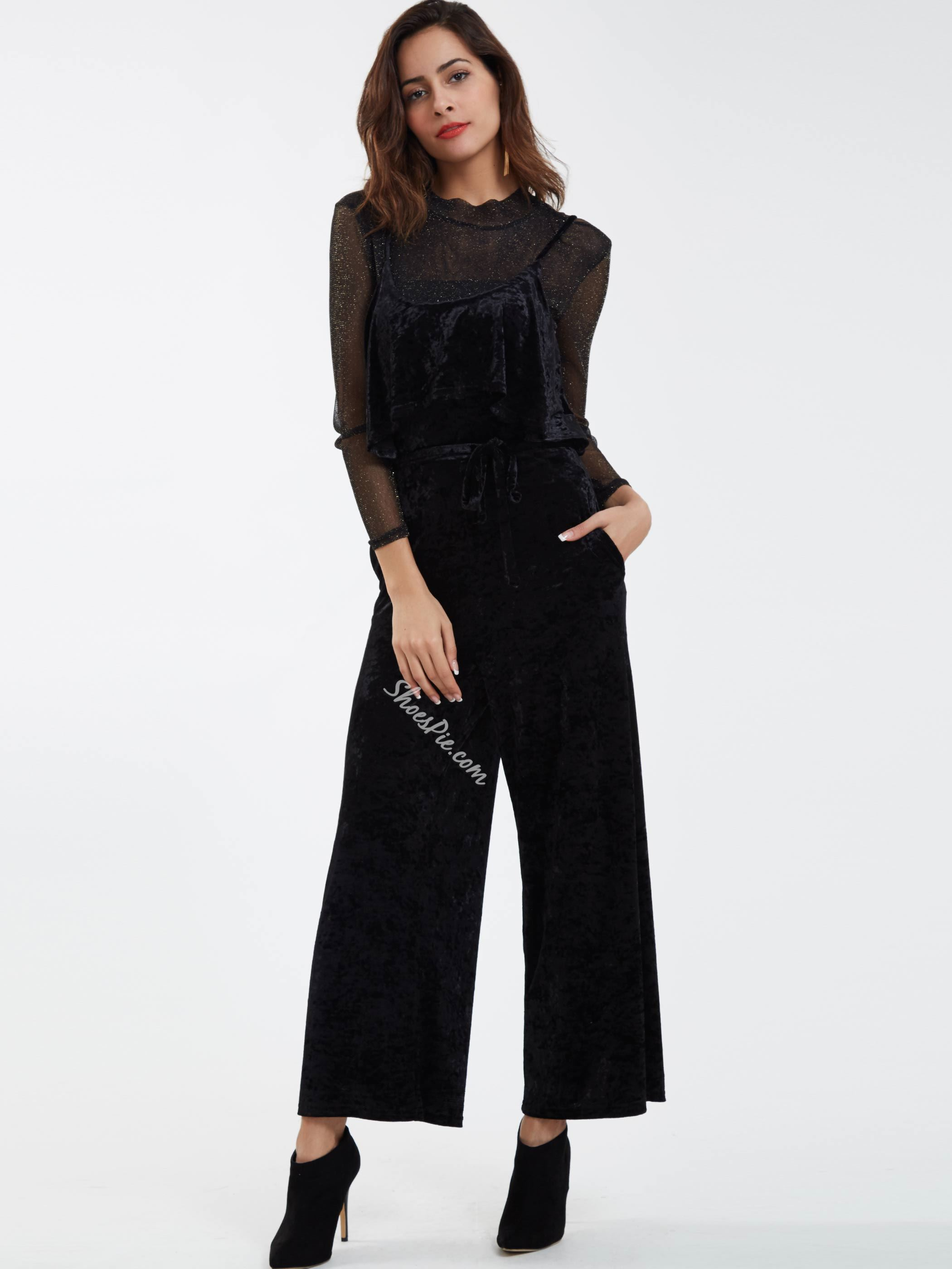 Plain Round Neck Full Length Jumpsuit