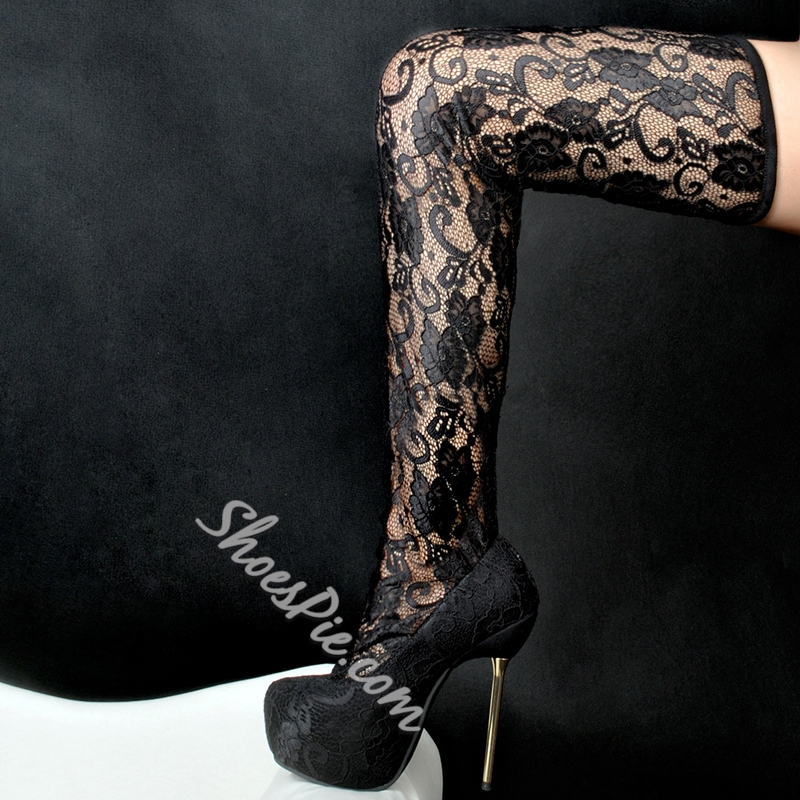 Shoespie Black Lace Platform High Heel Boots