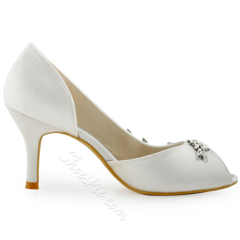 Shoespie White Peep Toe Bridal Shoes