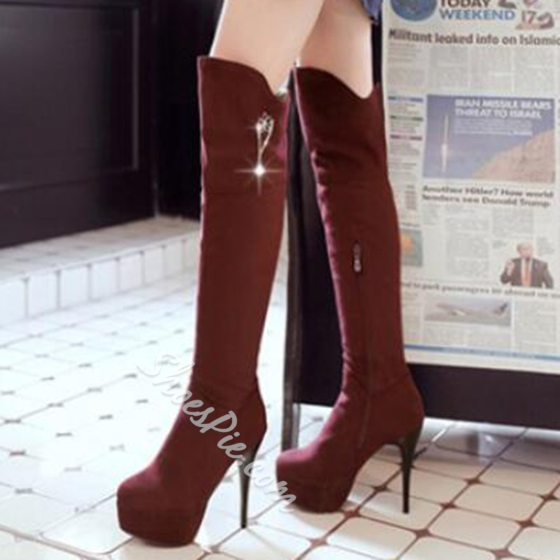 Shoespie Chic Plain Color High Heel Thigh High Boots