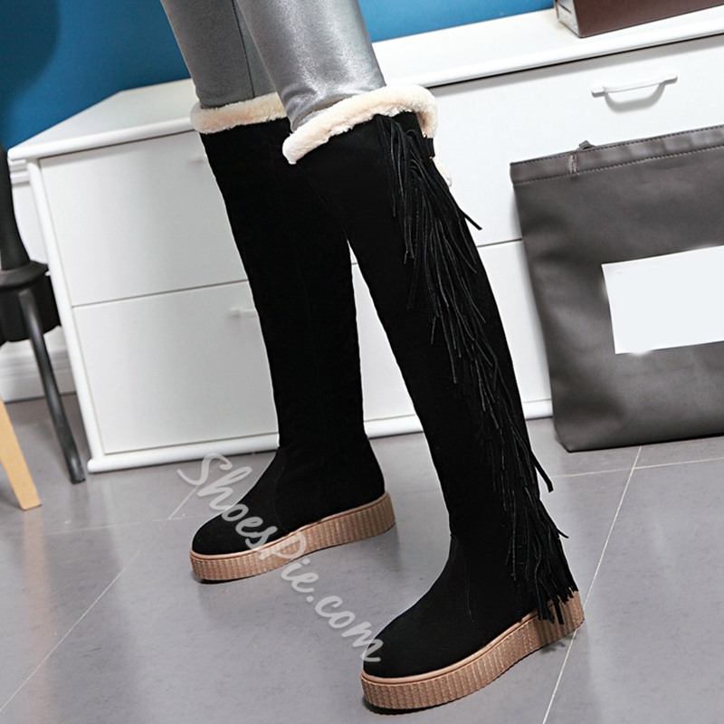 Shoespie Stylish Round Toe Side Fringe Flat Snow Boots