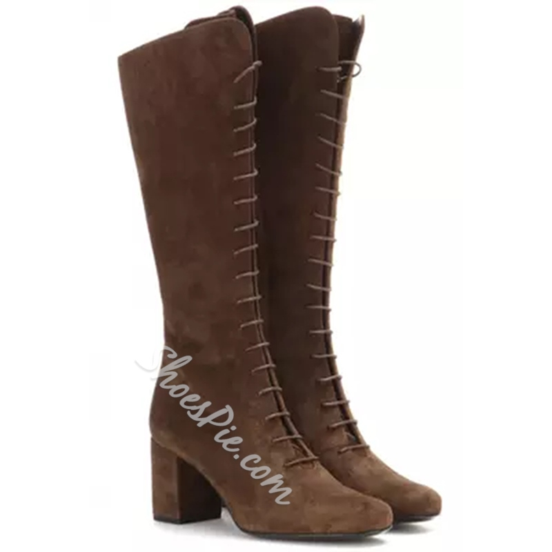 Shoespie Solid Colr Front Lace Up Chunky Heel Knee High Riding Boots