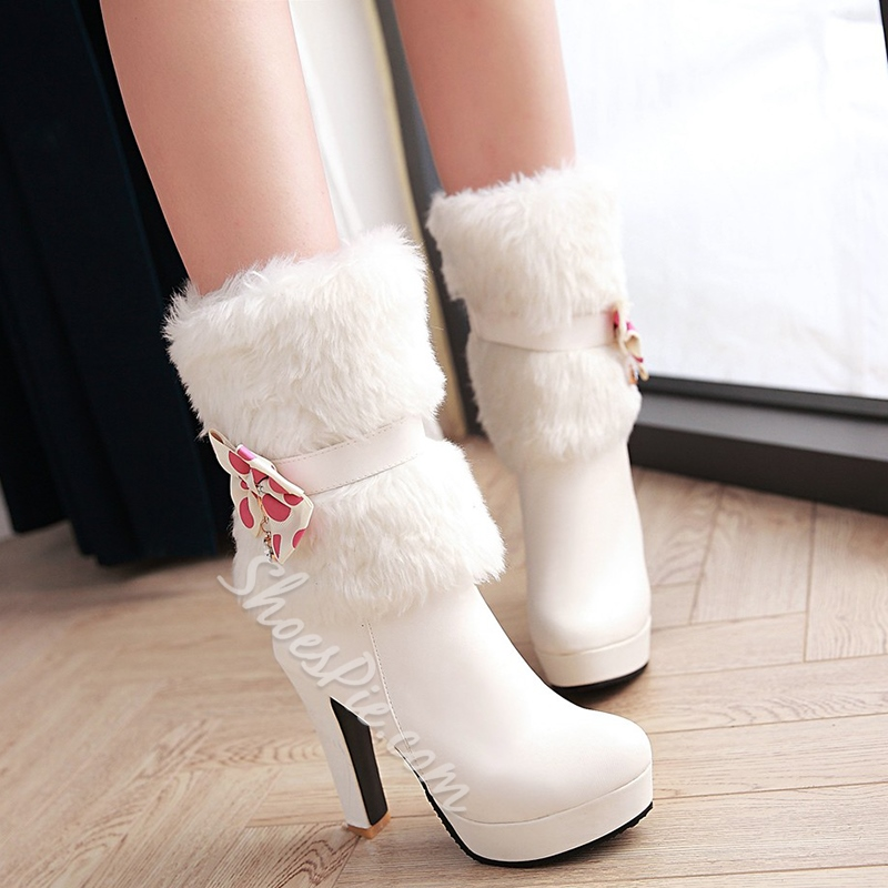Shoespie Ankle Bow Mid Claf Fur Boots