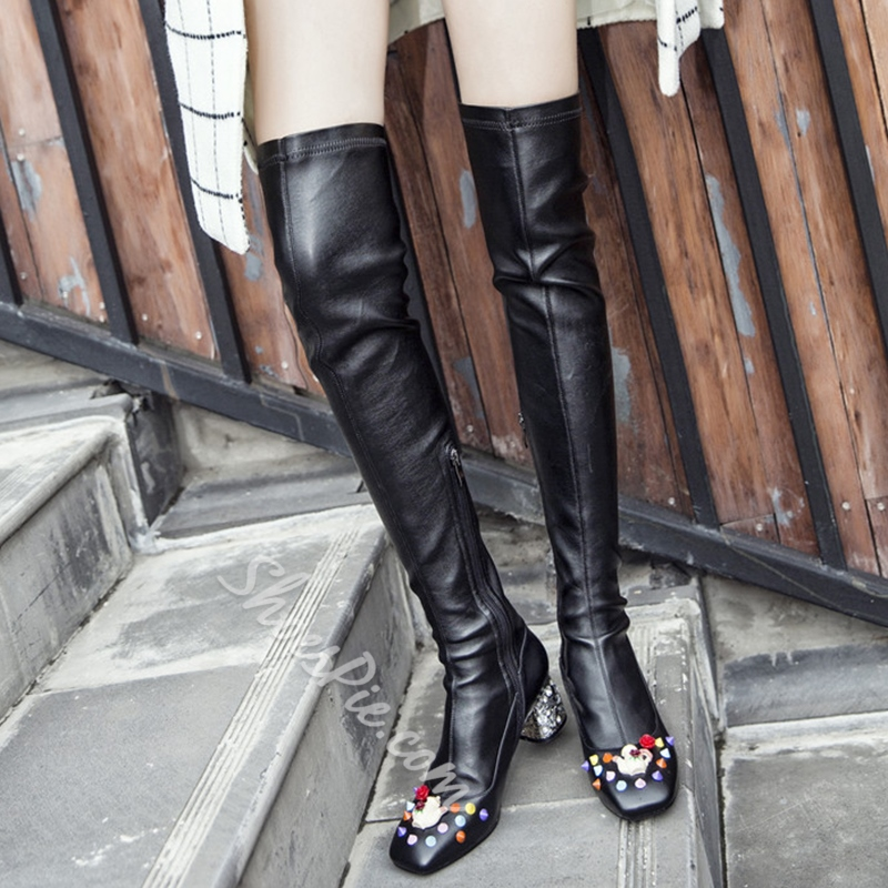 Shoespie Unique Macaron Appliqued Thigh High Boots