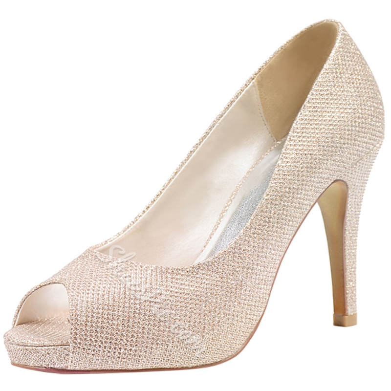 Shoespie Light Pink Peep Toe Bridal Shoes