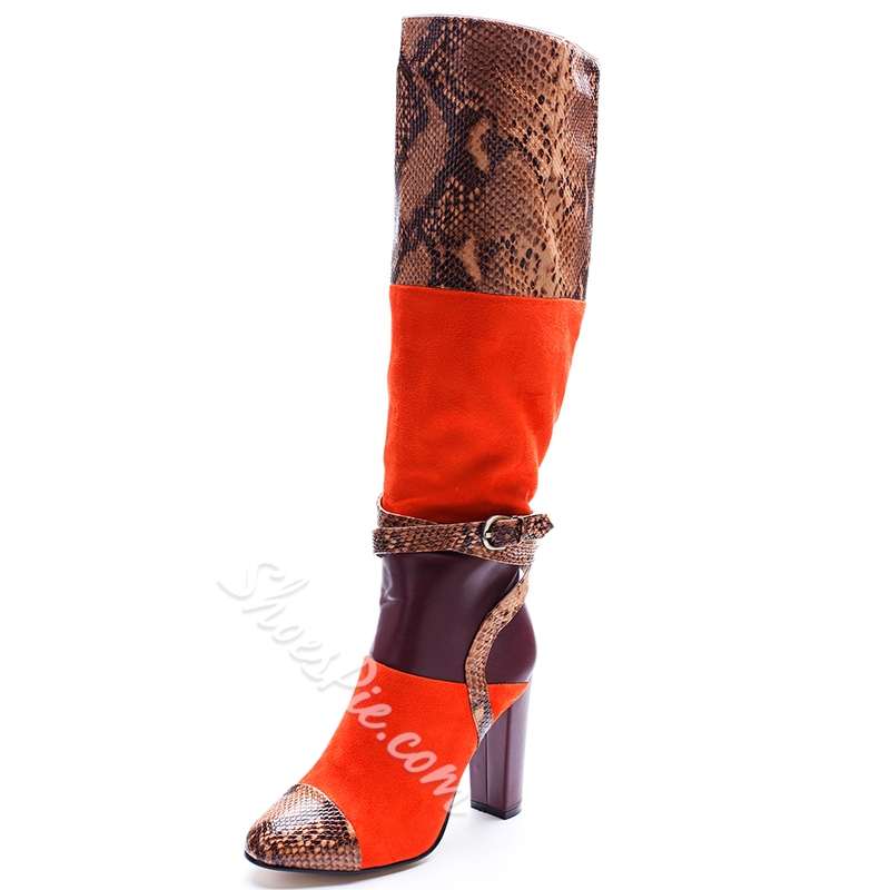 Shoespie Gorgeous Color Block Buckle Knee High Boots