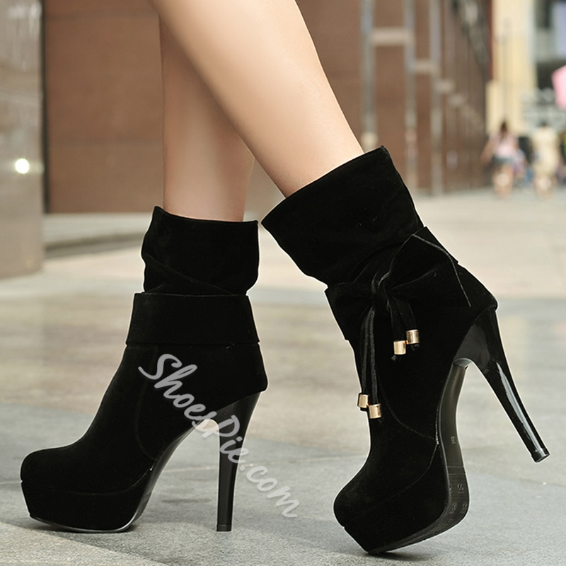 Shoespie Christmas Ankle Bow Knot Platform Boots
