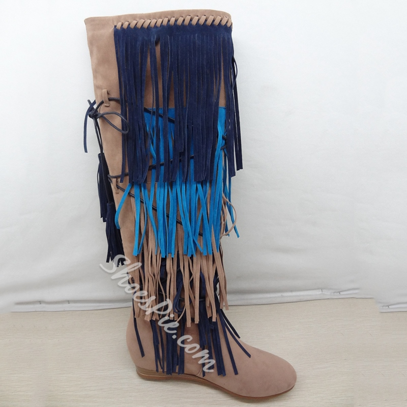 Shoespie Round Toe Fringe & Lace Up Knee High Cowgirl Boots