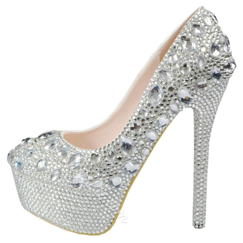 Shoespie Sliver Rhinestone Platform Bridal Shoes
