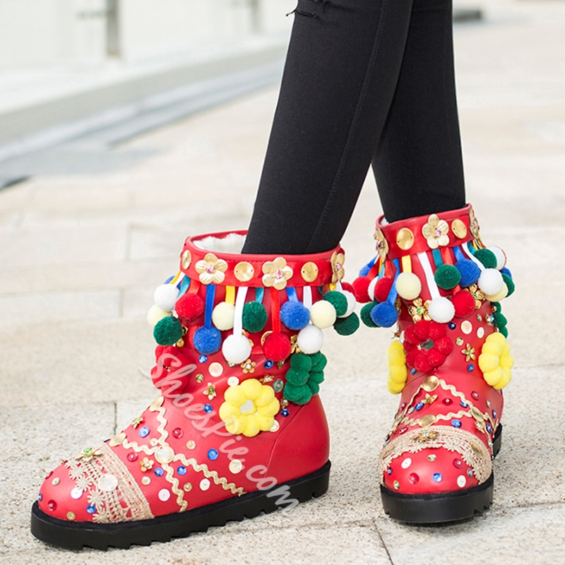 Shoespie Luxurious Colorful Pompom Accented Snow Boots