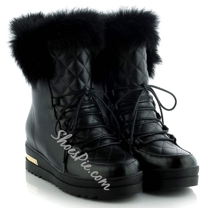 Shoespie Round Toe Lace Up Fur Snow Boots