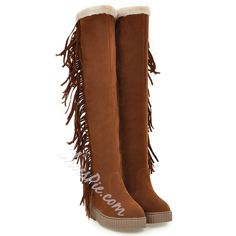 Shoespie Round Toe Fringe Flat Knee High Boots