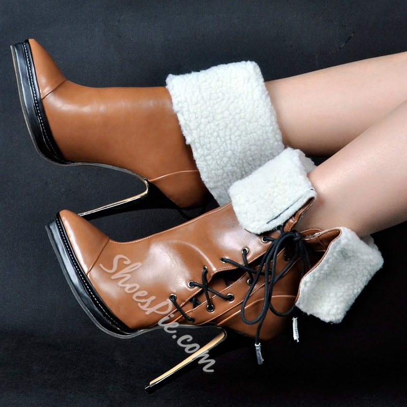 Shoespie Chic Brown Side Lace Up Pointed Toe Stiletto Heel Ankle Boots