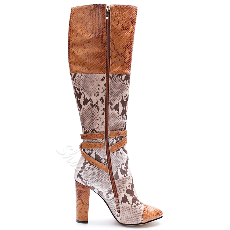 Shoespie Snake Pattern Patchwork Block Heel Buckle Knee High Boots