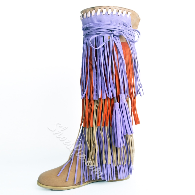 Shoespie Chic Fringe Flat Boots