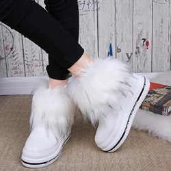 Shoespie Solid Color Round Toe Fur Snow Boots