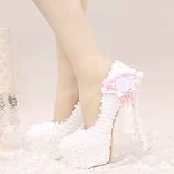 Shoespie Dreaming White Fringe Bridal Shoes