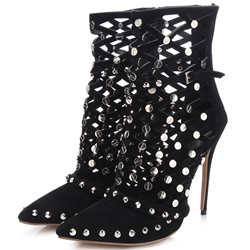Shoespie Featuring Black Rivets Caged Fashion Sandal Booties