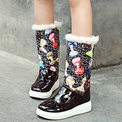 Shoespie Chic Corlorful Print Snow Boots