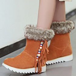 Shoespie Elegant Side Fringe Snow Boots