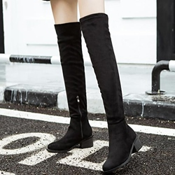 Shoespie Plain Black Block Heel Knee High Boots