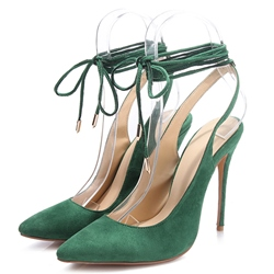 Shoespie Quality Green Slingback Lace Up Stiletto Heels