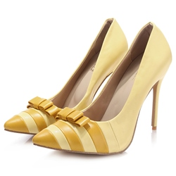 Shoespie Chic Yellow Bow Knot Patchwork Stiletto Heel Court Shoes