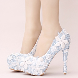 Shoespie White Flower Appliqued Platform Bridal Shoes