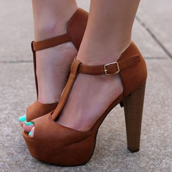 Shoespie Brown Peep Toe Platform Sandal