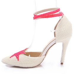 Shoespie White Beads Cover Ankle Wrap Wedding Shoes