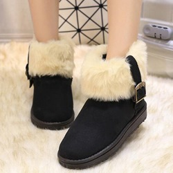 Shoespie Chic Round Toe Buckle Fur Snow Boots